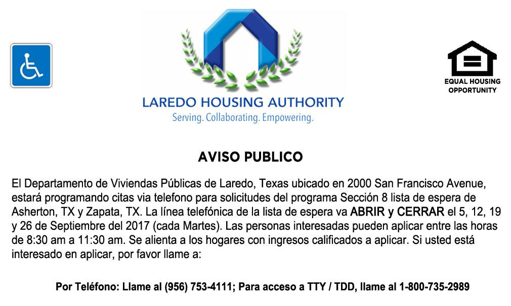 LHA abrirá Listas de Espera de Sección 8 para Asherton y Zapata