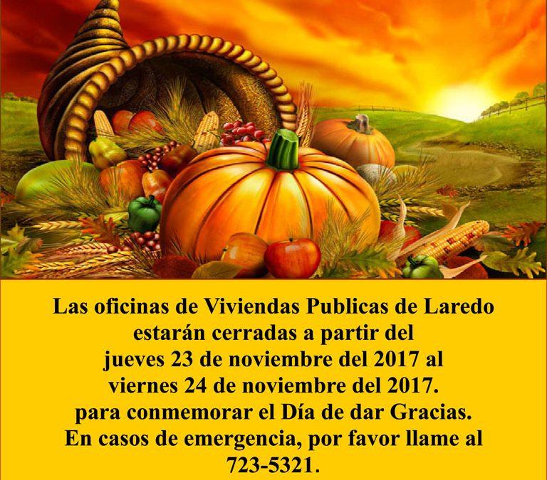 Las oficinas de LHA cierran en observancia de Acción de Gracias