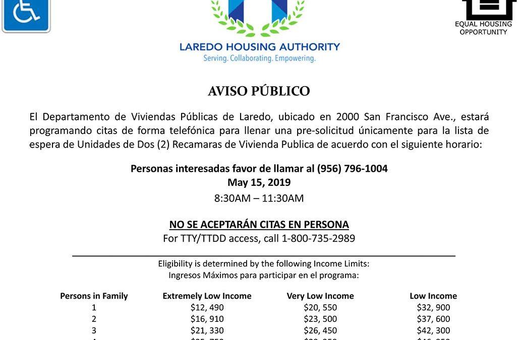 LHA abrirá la lista de espera de vivienda pública de 2 habitaciones
