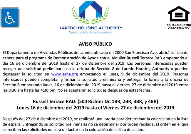 LHA abrirá lista de espera para Unidades RAD Russell Terrace