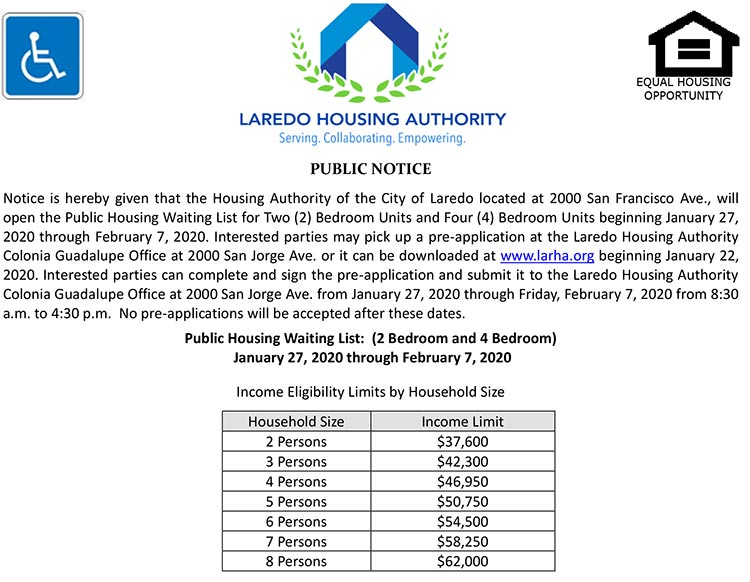 LHA to open Waiting List for Public Housing