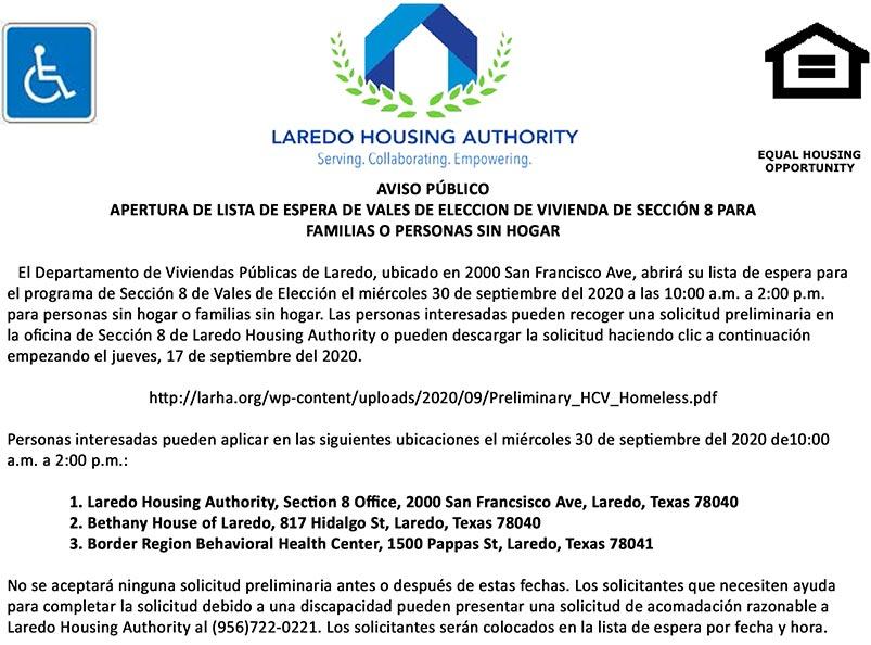 LHA abrirá la lista de espera de HCV de la Sección 8 (personas o familias sin hogar)