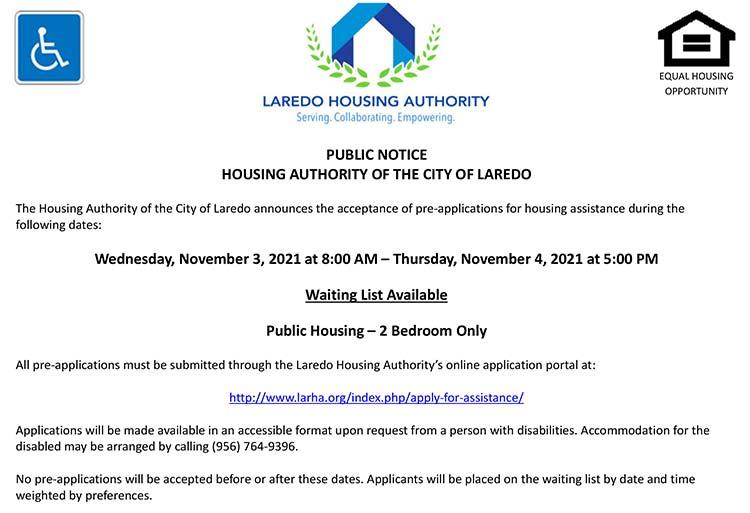 Laredo Housing Authority to open 2 bedroom Public Housing waiting list